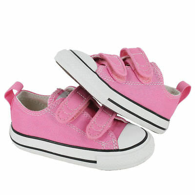 Converse CT Ox Infant Girls UK 7 EU 23 Pink Canvas Touch Close Trainers Pumps