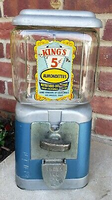 Vintage King Vendors 5 Cent Coin Op Almondettes Peanuts Gumball Candy Machine