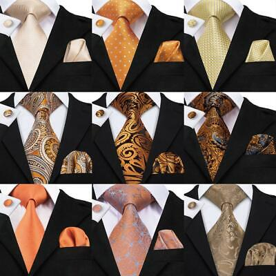 AU Yellow Gold Men Ties Set Striped Novelty Silk Necktie Handkerchief cufflinks