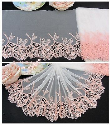 """8""""*1Y Embroidered Floral Tulle Lace Trim~Ivory+Peach Pink~Morning Blessing~"""