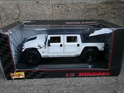 Maisto Hummer H1 Soft Top Military SUV 1:18 Scale Diecast White Metal Model