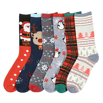 Casual Dress Socks Lot Crew Stretchy Spandex Christmas 12/6 Pairs Size 9-11 Xmas