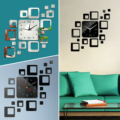 Square Wall Clock Watch Decal 3D Stickers Roman Numerals DIY Wall Modern Home AU
