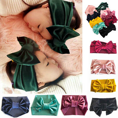 Cute Baby Girls Kids Soft Velvet Bow Knot Hairband Headband Turban Head-Wrap