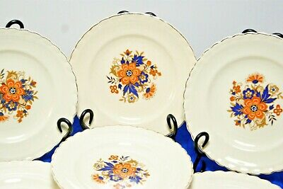 "7 J&G Meakin SOL Luncheon Plates Orange flower blue leaves scalloped gold 8"" VGC"