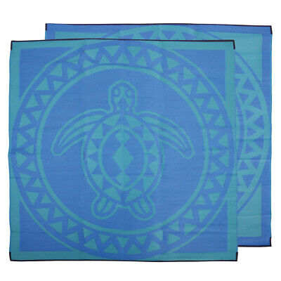 Plastic Outdoor Rug | TSI Turtle Mat, 2.7m Square in Blue & Green