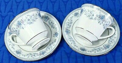 LOT of 2 Cup & Saucer SETS Contemporary Noritake Blue Hill 2482 MINT