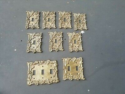 Vintage does Antique Cast Iron gold tone Light Switch Plate Covers lot x 9