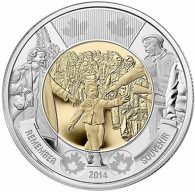 2014 $2 Dollars Coin Toonie Wait For Me Daddy  W/ Collector Card Holder Folder