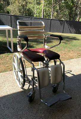 Foldable self-propelled shower commode w/ travel bag