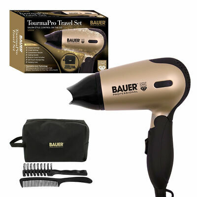 Bauer TourmaPro Travel Set Styler Travel Hair Dryer Set With Concentrator Gold