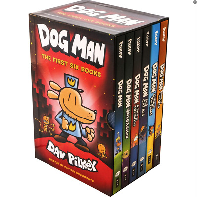 NEW Dog Man First 6 Books Collection Gift Library Boxed Set Kids Gift Dav Pilkey