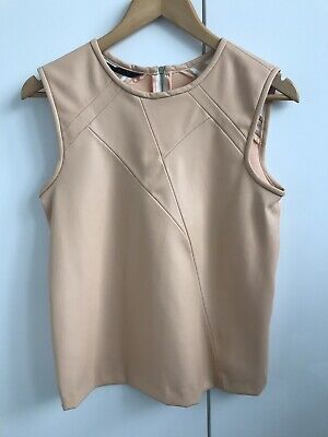 Ladies 'Zara' Faux Leather Cream Top. Size Xs/8. Good Condition.