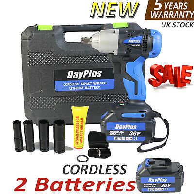 """2 Batteries Cordless Impact Wrench Driver 460Nm Electric Rattle Nut Gun 1/2 """""""