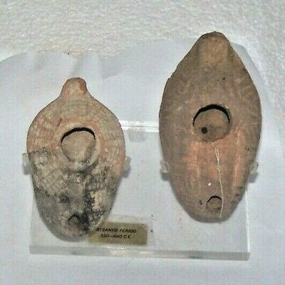 lot of 2 byzantine terra cotta oil lamps L1013 L496