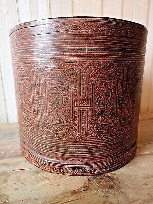 Antique TIBETAN LACQUER BOX With LID  Painted 19th C