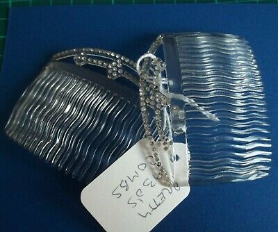 original antique pair hair combs 1930s French