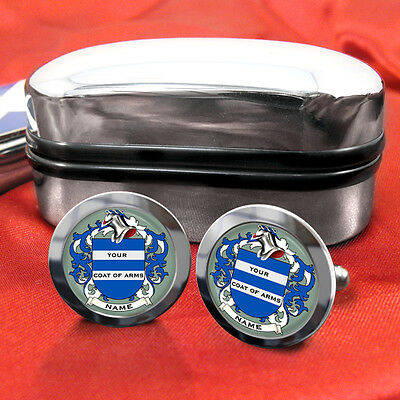 Coat of Arms Family Crest Any Surname Cufflinks Gift