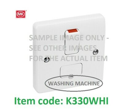 MK ELECTRIC K330WHI 13A DP Switched Fused Spur+Cable Outlet white WASH.MACHINE