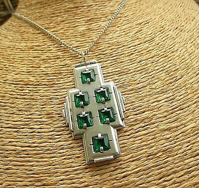 Beautiful Large  Art Deco Silver & Emerald Paste Pendant