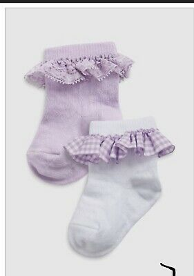 Girls Next 6 Pairs Frilly White& Lilac Lace Cotton Socks 0-3 Months