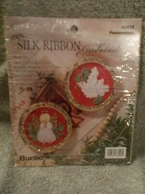 Bucilla Silk Ribbon Christmas Embroidery Craft Kit Peacemakers 2 Ornaments