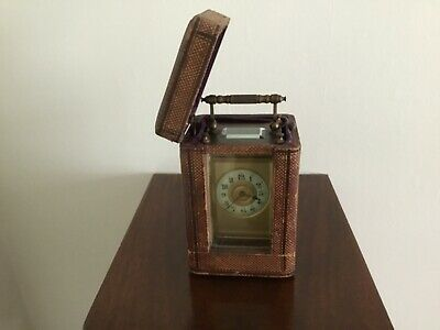 French Carriage Clock With Case Filigree Decoration Bevelled Glass Panels FWO