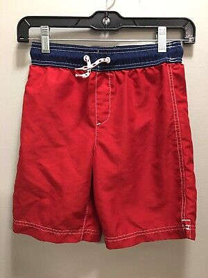 Lands End Boys 8 Swim Trucks Swimsuit Red Blue Mesh Lined