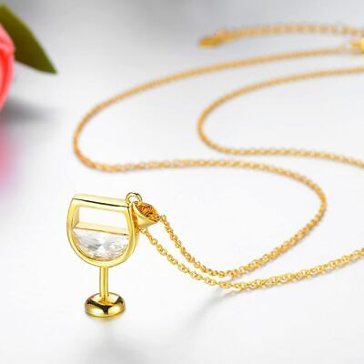 Women Necklace Wine Glass Pendant Cubic Zirconia Long Chain Jewelry Gift Fashion