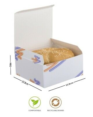Supa Snax White Square Boxes Cardboard Takeaway Box Fast Food Burger Custodia