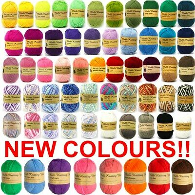 100g Knitting Yarn 8 Ply Super Soft Acrylic Crochet Craft Wool 52 Bright Colours