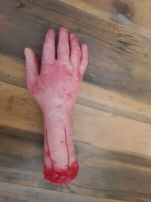 Realistic Right Hand Terror Bloody Fake Body Part Severed Arm Halloween Props