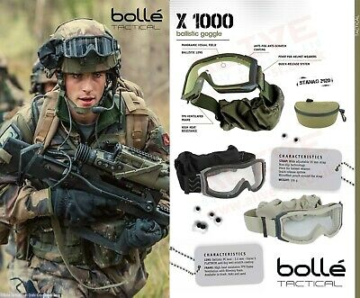 Bolle Tactical X1000 Safety Ballistic Goggles - Airsoft Paintball Army Military