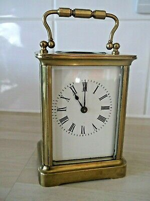 French Brass 8 Day Carriage Clock In Wonderful Working Condition +