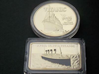 RMS Titanic  Liner Gold Plated Bar & Coin   April 15th 1912 White Star Line