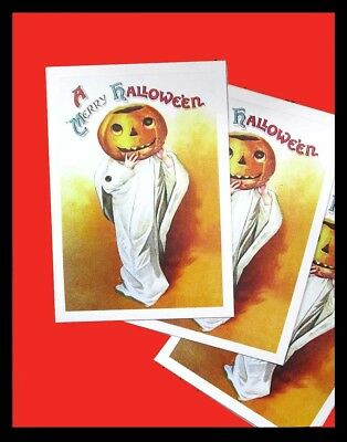 3 NEW HALLOWEEN POSTCARDS CARDS of FANTASTIC VINTAGE PUMPKIN IMAGE, Beautiful!