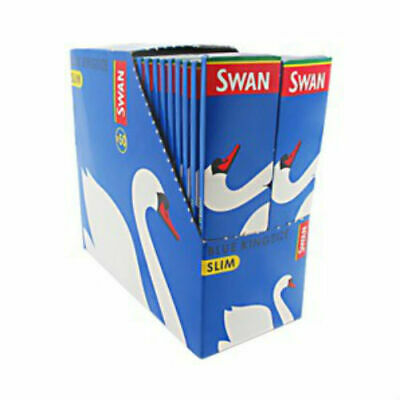 Full Box of 50 packs Swan Blue King Size Slim Cigarette Rolling Papers