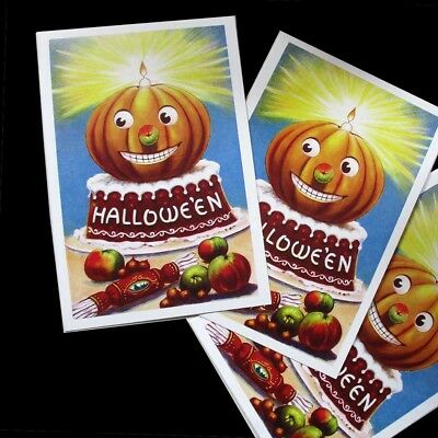 3 NEW HALLOWEEN POSTCARDS CARDS of FANTASTIC VINTAGE PUMPKIN IMAGE, Wow!!!