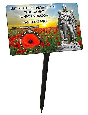 Personalised War Memorial Plaque & Stake. Remembrance, Poppy  garden grave