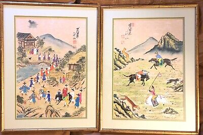 2 Old Signed Chinese Landscape Painting Vintage Antique