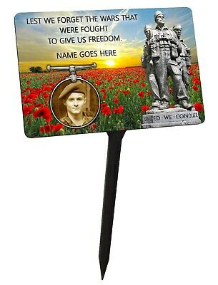 Personalised Photo War Memorial Plaque & Stake. Remembrance, Poppy  garden grave