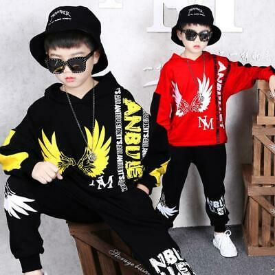 Kids Boys Girls Hip Hop Tracksuit Hooded Hoodie Sweatshirt Bottom Jogging Suit