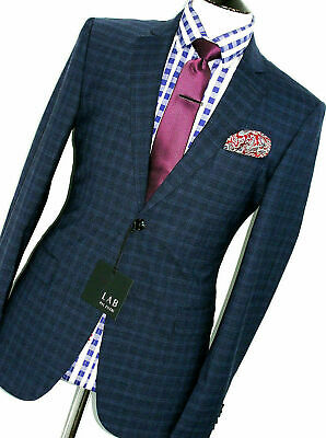 Bnwt Gorgeous Mens Pal Zileri Navy Micro Check Check Slim Fit Suit 38R W32