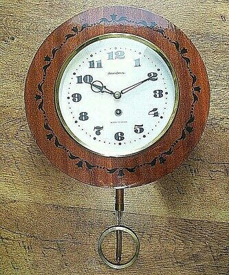 Vintage USSR Made Jantar Round Faced Wall Clock with Pendulum & Key (Russia)