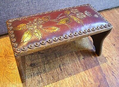 Antique 19th Century Portable Folding Foot Rest Upholstered Painted Leather Top