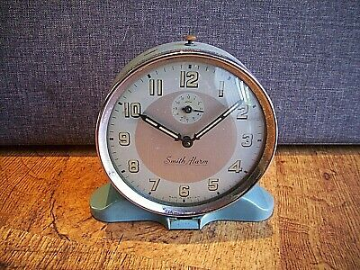 Vintage Retro 1950's Smiths Blue Enamel Alarm Clock with Glow Hands and Numbers