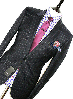Bnwt Gorgeous Mens Paul Smith Soho Bold Chalkstripe Slim Fit Suit 44R W38