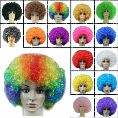 Disco Afro Fancy Dress Curly Wig Circus Clown Hair Football Fan 1980s Cosplay