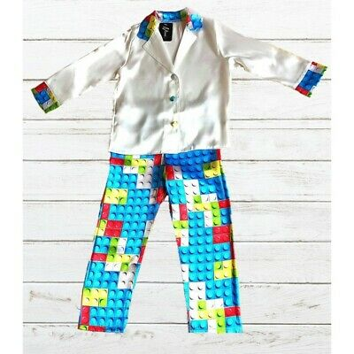 Kids Lego Bricks Satin Long Sleeve Pyjamas pj's Nightwear Children Sleep Unisex