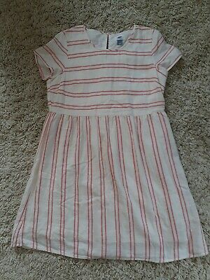 Womens Old Navy Red Cream Striped Short Sleeve cotton lined Dress. Size med. EUC
